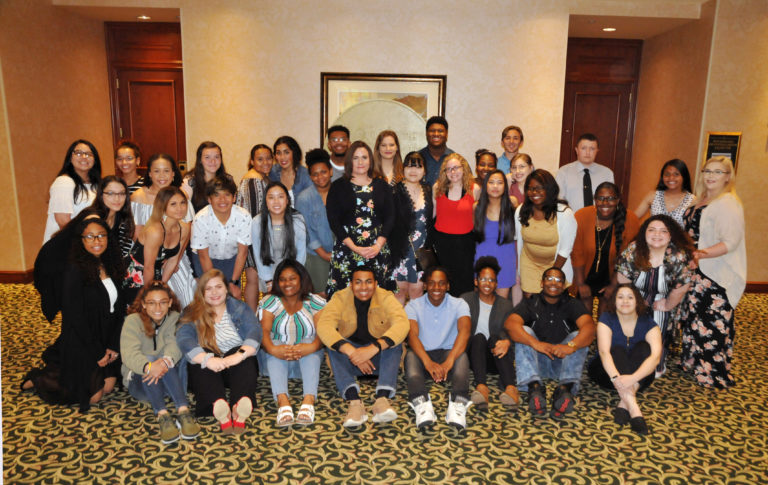A busload of IKE Ignition mentors from Lawton Eisenhower High School surprised their teacher, Medal for Excellence winner Michelle Churchwell, by attending the banquet to cheer her on. Their attendance was made possible by OFE trustees Linda Neal and Beth Johnson of Lawton.