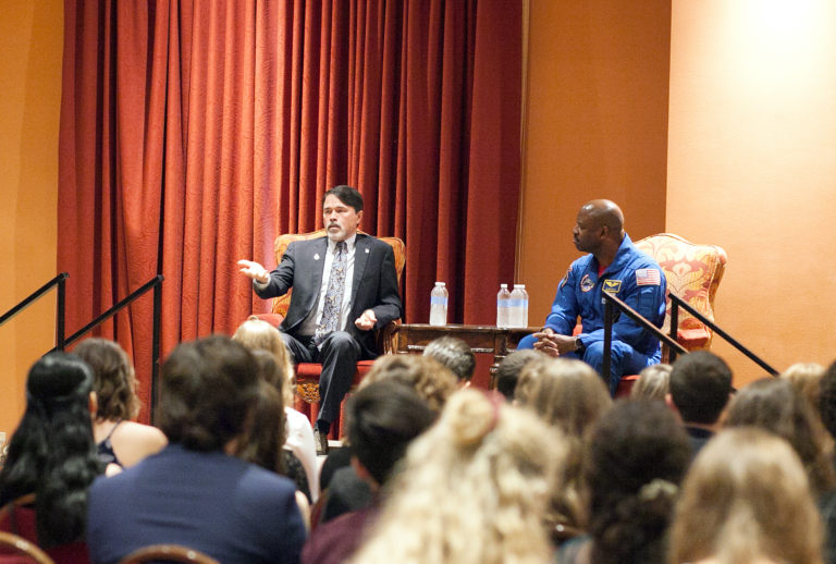 Academic All-Staters participate in a discussion session with astronaut Leland Melvin (right) and 2013 Medal for Excellence winner John Waldron, now a Tulsa state representative.