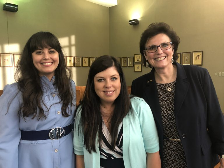 2018 Oklahoma Teacher of the Year and two-time Fund for Teachers fellow Donna Gradel (right) poses with Tesia Zientek and Stephanie Hawk of the Citizen Potawatomi Nation. The Oklahoma Foundation for Excellence held a reception in spring 2019 at the Oklahoma School of Science and Mathematics to honor Gradel for her selection as a 2019 National Teacher of the Year Finalist and to show appreciation to the Oklahoma Tribal Alliance for their partnership in securing Fund for Teacher fellowships for 27 Oklahoma teachers last summer.