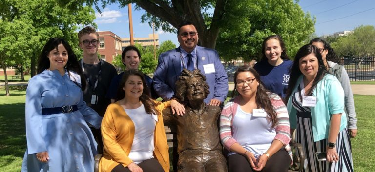 Members of the Oklahoma Tribal Alliance join students at the Oklahoma School of Science and Mathematics during a campus tour preceding a reception thanking tribal donors to Fund for Teachers.
